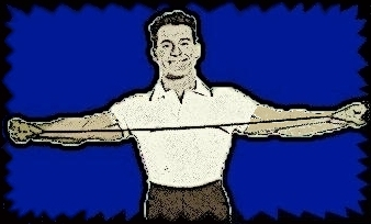Jack LaLanne in Glamour Stretcher pose, cartoon version